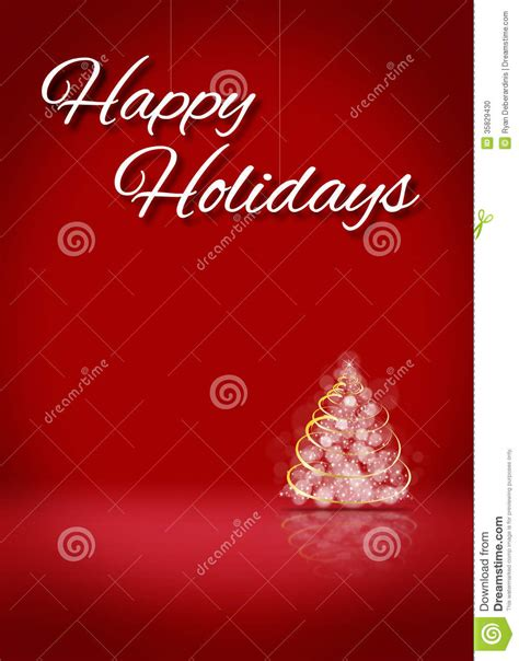 happy holidays template happy holidays tree 3d card background stage stock photo