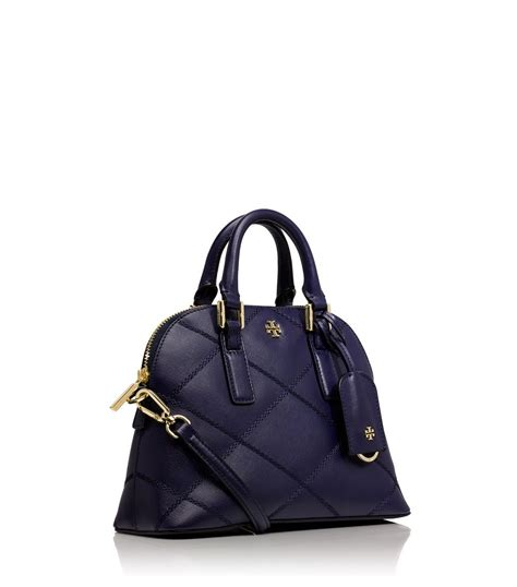 lyst burch robinson stitched mini dome satchel in blue