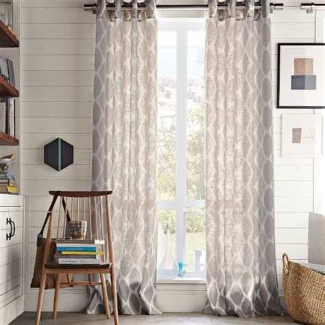 Ivory Linen Curtains Ikat Ogee Linen Curtain Ivory Platinum West Elm