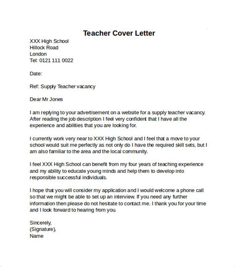 cover letter format for teachers cover letter exle 10 free documents