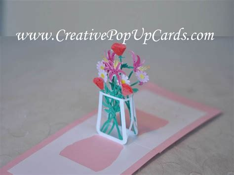flower bouquet pop up card template s day pop up card flower bouquet tutorial