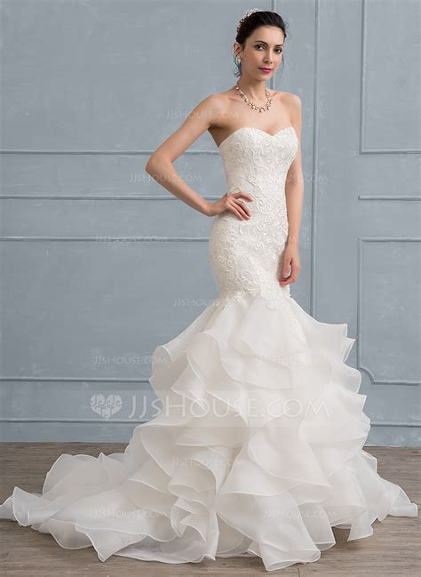 Dresswe Wedding Dresses by Trumpet Mermaid Sweetheart Sweep Organza Lace