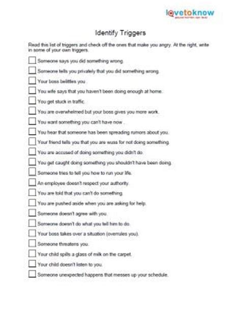 printable anger management activities identify anger triggers anger management pinterest