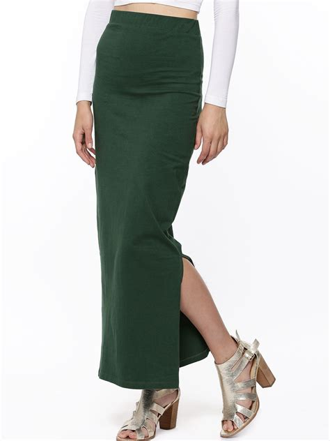 buy koovs pencil maxi skirt for s green maxi