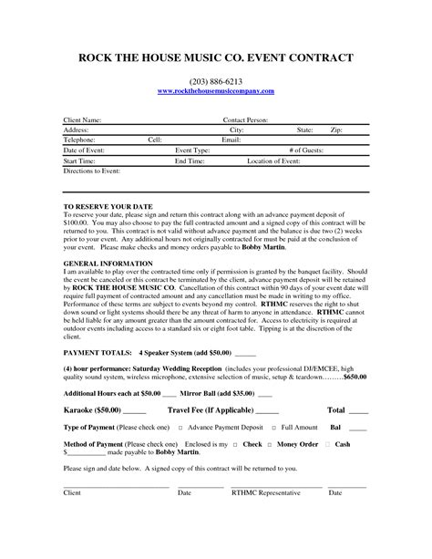 dj contracts templates 9 best images of dj contract agreement template dj