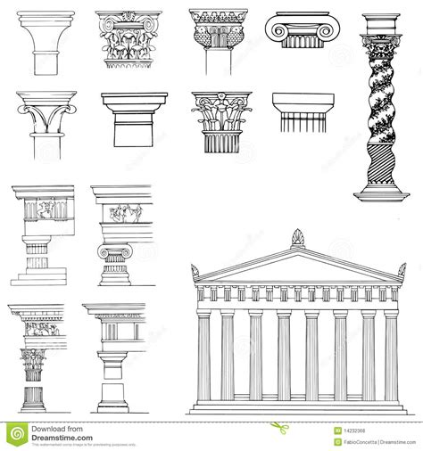 elemental architecture collection of architectural elements stock illustration illustration 14232368