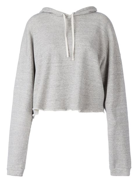 Top A Grey faith connexion cropped hoodie in gray grey lyst