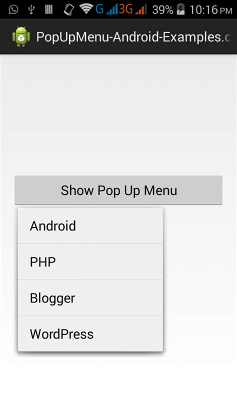 android popup create custom popup menu in android studio eclipse exle tutorial android exles