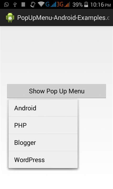 tutorial android menu create custom popup menu in android studio eclipse exle