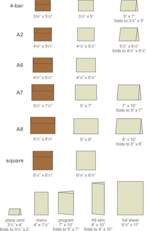 envelope sizes cards and paper on