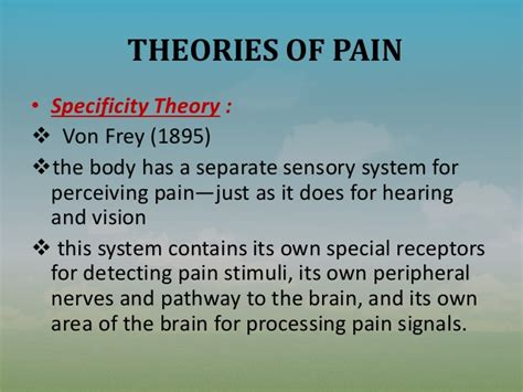 pattern theory goldschneider nursing management of a patient with pain