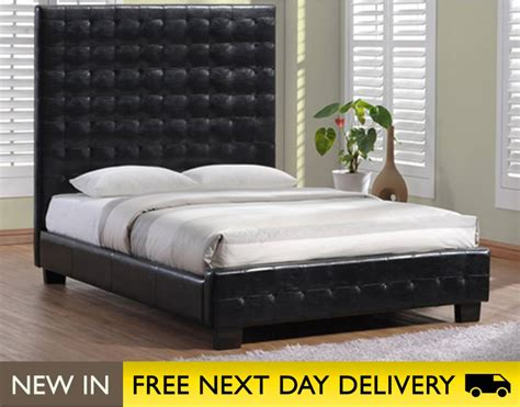 king leather bed millionaire 5ft king size black faux leather bed cheap