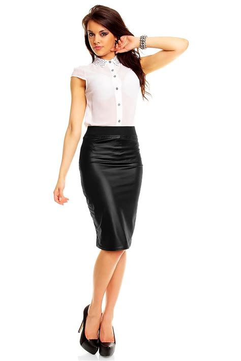 black stretch look pencil skirt office