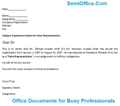experience letter for sales representative