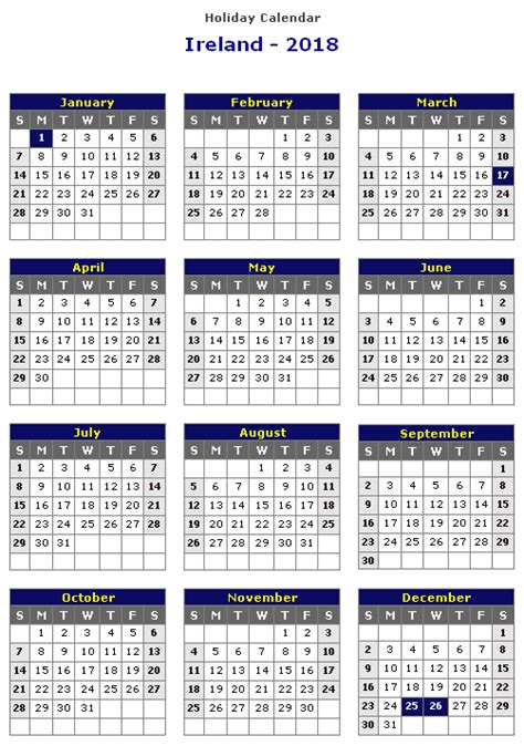 Calendar 2018 Bank Holidays Ireland Ireland 2018 Printable Calendar 171 Printable Hub