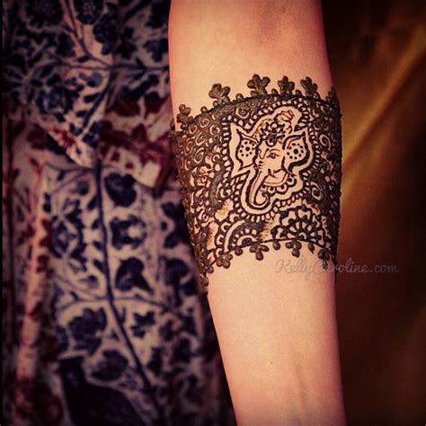 ganesh henna tattoo cuff design around the arm one of my