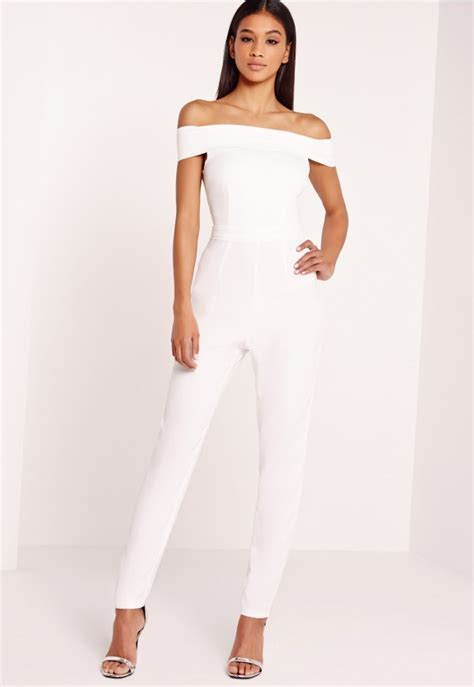 Jamsuit Kombi Grey crepe bardot jumpsuit white missguided