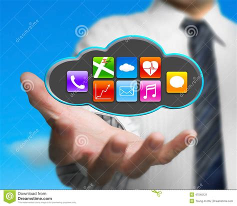 colorful wallpaper apps businessman showing colorful app icons on cloud with