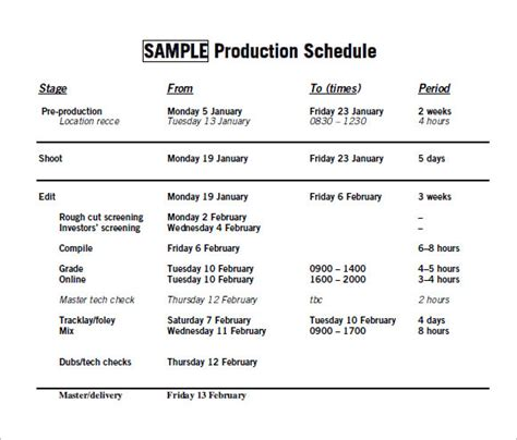 production timeline template sle production timeline 10 exles format