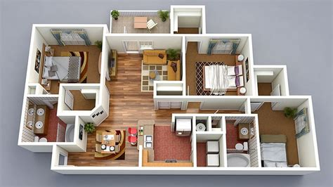 3 room 3d house plan 20 designs ideas for 3d apartment or one storey three bedroom floor plans home design lover