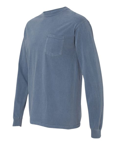 comfort colors long sleeve pocket t shirts comfort colors 4410 garment dyed heavyweight ringspun