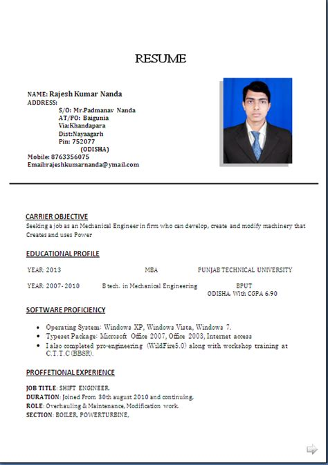 resume format for experienced mechanical engineer india resume sle for mba b tech in mechanical engineering 3 years experiance resume formats