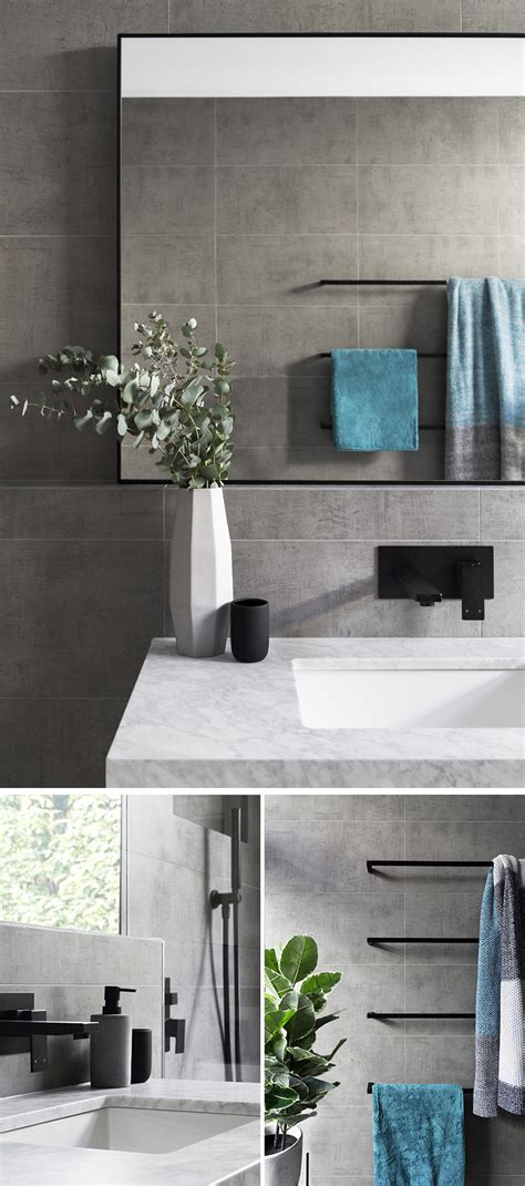 Grey Bathroom Accent Color by Matte Black Accents Add Sophistication To This Grey And