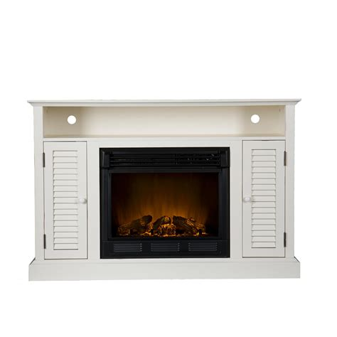 white electric fireplace media console view larger