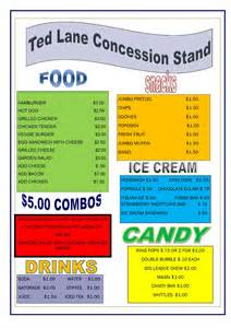 Concession Stand Menu Template by Concession Stand Menu Cake Ideas And Designs