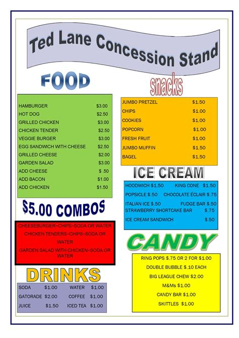concession menu template concession stand menu cake ideas and designs