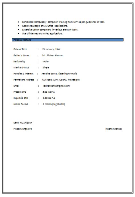 company resume format 10000 cv and resume sles with free resume format for experienced company