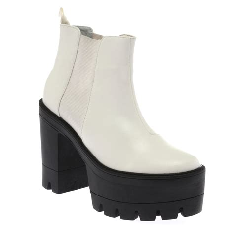 womens white cleated sole chunky high heel ankle