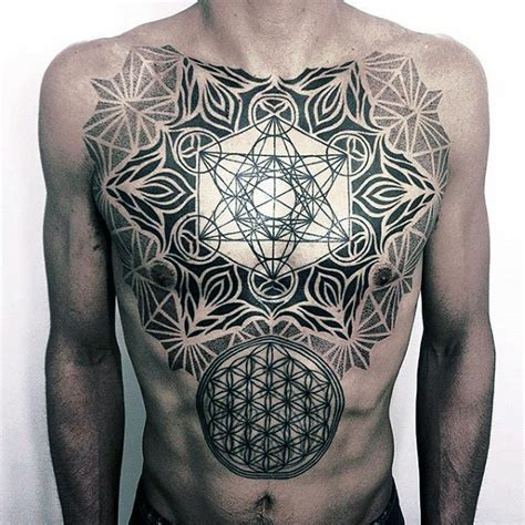 geometric chest tattoos 100 flower of designs for geometrical