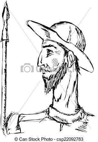 Quixote, dom. Dom, doodle, ilustração, mão, quixote