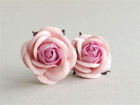 How To Make Mulberry Paper Flowers - 50mm blush pink paper roses 2psc mulberry paper