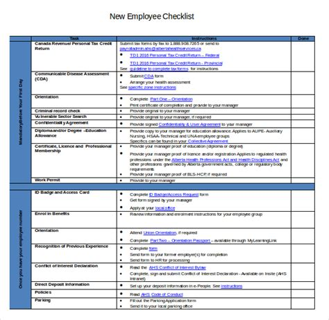 employee onboarding checklist template new hire checklist template template business