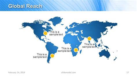 world map slide design for global reach slidemodel