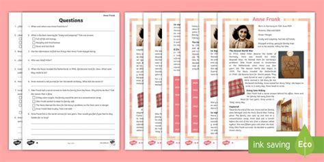 libro mathmatiques ece 2e anne new anne frank differentiated reading comprehension activity