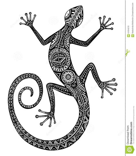 vector hand drawn lizard or salamander with ethnic tribal