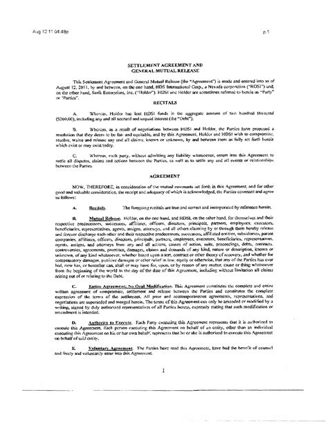 Good Gaming Inc Form 10 Q Ex 10 1 Settlement Agreement And General Mutual Release With General Release Agreement Template