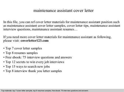 Maintenance Cover Letter Maintenance Assistant Cover Letter