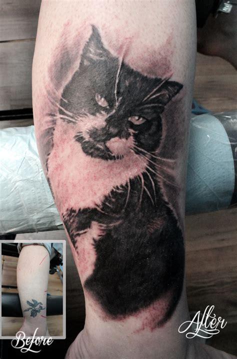 cat tattoo cover up amazing 3d cat tattoos