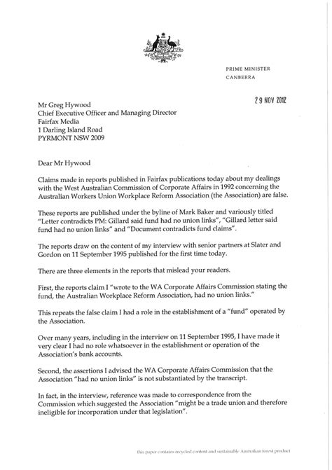 Official Warning Letter Template Speeding Gillard Used Office As Prime Minister To Mislead