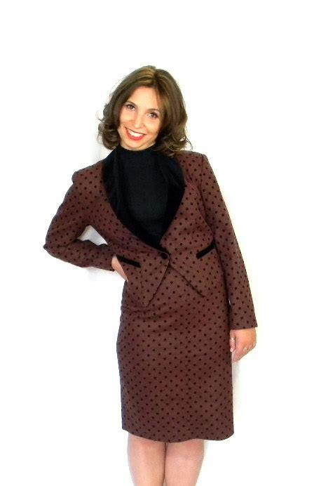 Set Blazer Polkadot Black Dress 80s skirt jacket set brown black polka dot 2 wool set