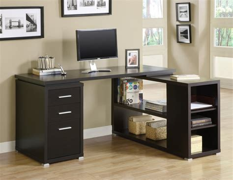 Corner L Cappuccino Corner L Shaped Office Desk With Drawers