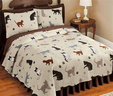 cat bed sheets cat bedding set shams bedspread fleece kitty bed cover