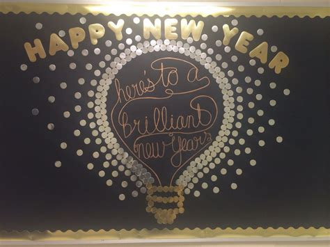 new year board happy new year here s to a brilliant new year bulletin