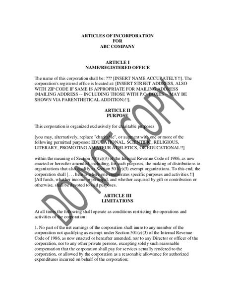 Sle Of Articles Of Incorporation Articles Of Incorporation Template