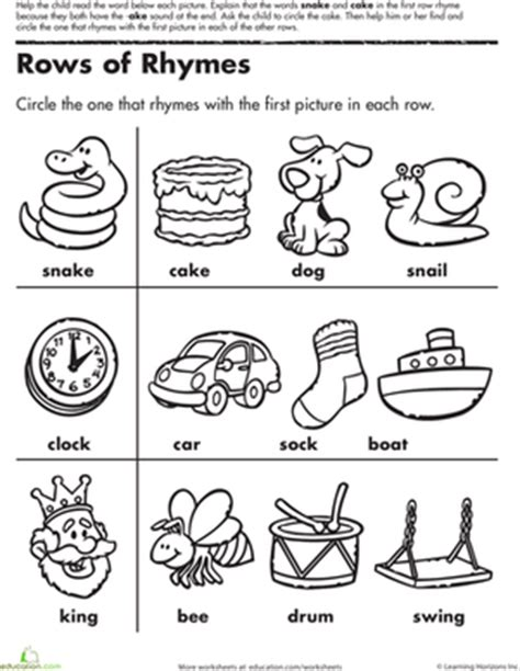 pattern and rhyme year 1 activities time to rhyme matching rhymes 1 worksheet education com