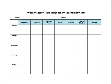 free printable weekly lesson plan template weekly lesson plan template 8 free word excel pdf